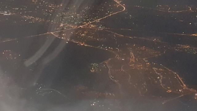 Moskou, vliegtuig, nacht, Backpackjunkies