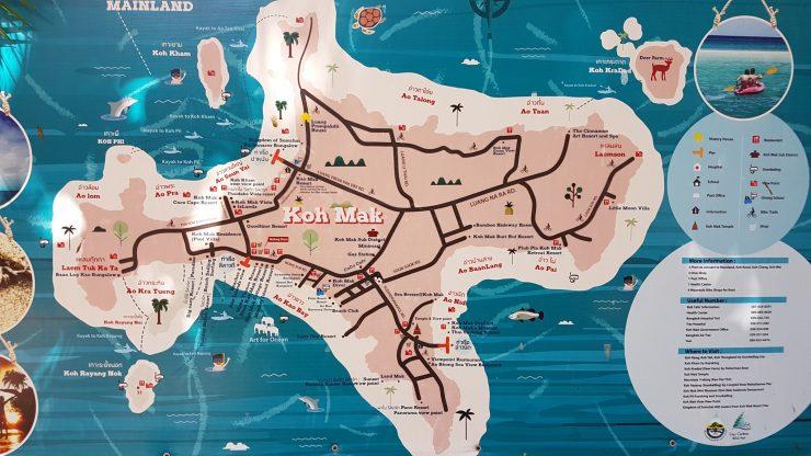 Koh Mak, kaart, eiland, Backpackjunkies