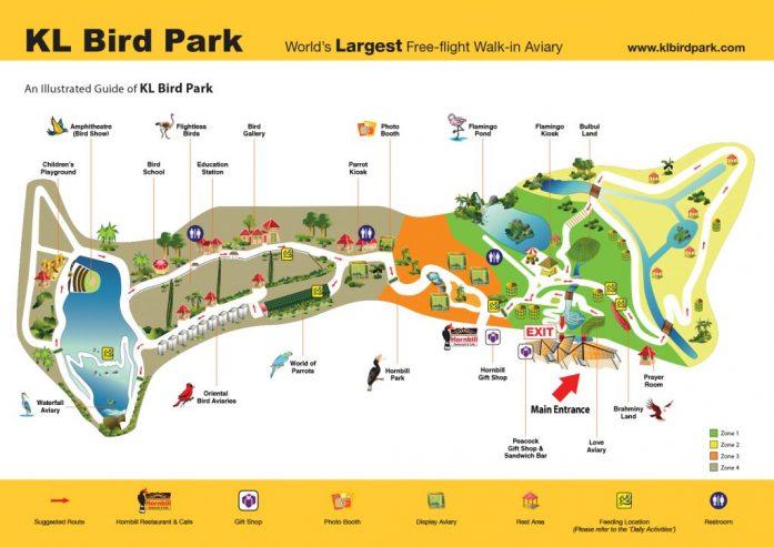 Kuala Lumpur Bird Park, kaart, Backpackjunkies