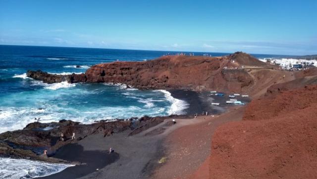 Lanzarote, Canarische eilanden, El Golfo. Lago Verde, Backpackjunkies